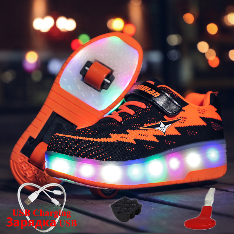 Luminous Sneaker with Wheels USB Charging Two Wheels Sneakers for Children with Lighting Glowing Sneakers boys krasovki rollersLuminous Sneaker with Wheels USB Charging Two Wheels Sneakers for Children with Lighting Glowing Sneakers boys krasovki rollers
