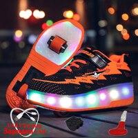 Luminous Sneaker with Wheels USB Charging Two Wheels Sneakers for Children with Lighting Glowing Sneakers boys krasovki rollers