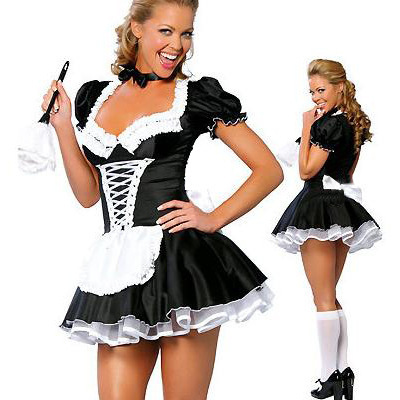 French Maid Costume Halloween Sexy Fancy Party Dress Black Outfit
