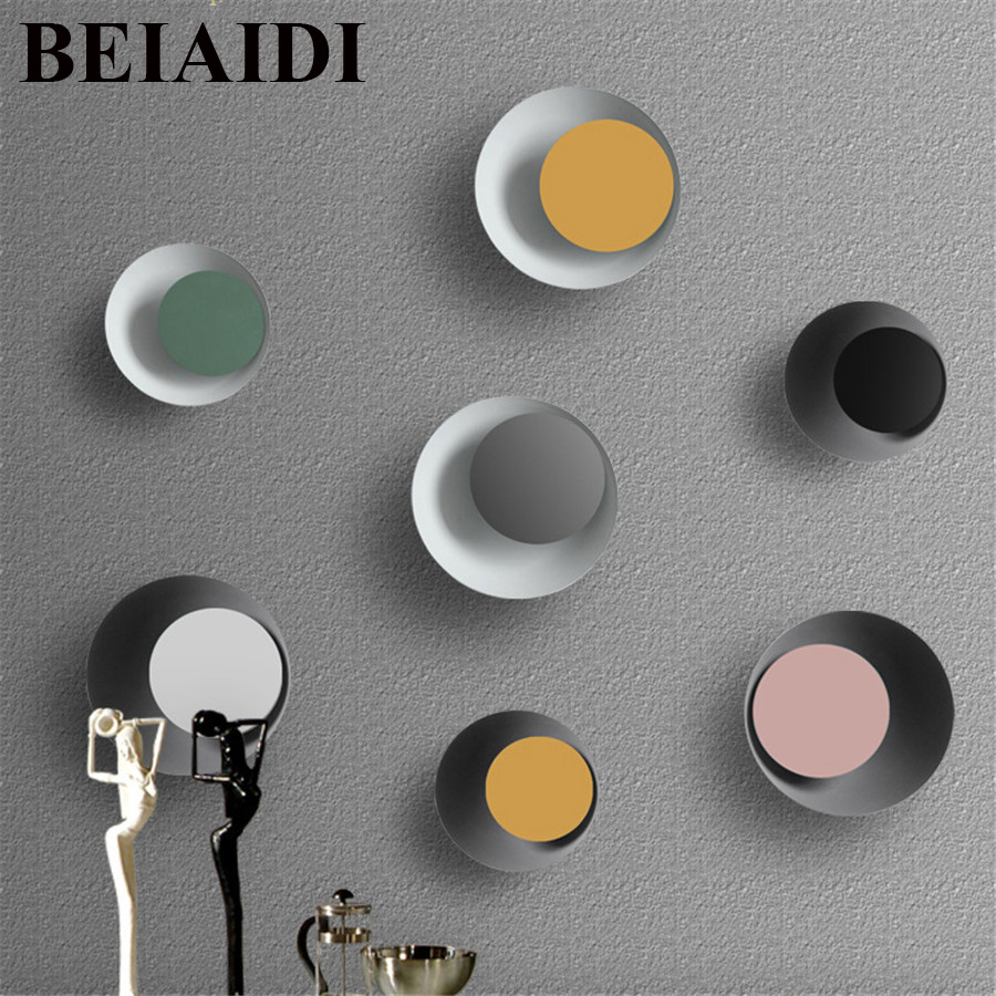 BEIAIDI Modern Brief Led Wall Lamp Moon Eclipse Macaron Restaurant Pub cafe Hotel Aisle Corridor Wall Light Indoor Wall Sconces nordic eclipse led wall lamp bedroom bedside round wall light stairway aisle corridor backdrop wall sconces luminaire arandela