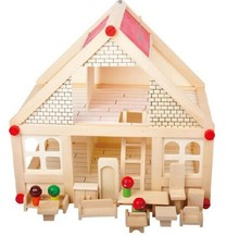 Free Shipping Baby Toy My Small Villa Child Pretend Play Toys Wooden Toys Model Building Kits