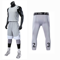 Blank College Basketball Jerseys Sets Men Sports Clothing 3pcs Shirt+Shorts+tight Pants Sleeveless Training Basketball Uniforms