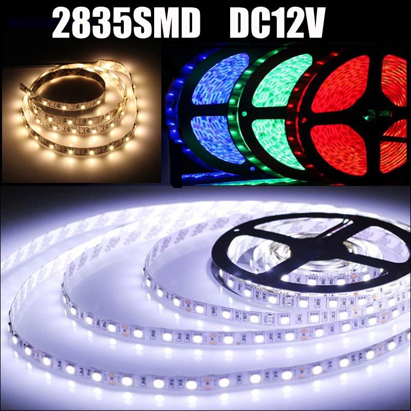 12v Led Strip Dimmable SMD 2835 Tiras RGB Red Blue Green White Warm White Neon Flexible Ruban Lampada LED Lamp Tape Christmas