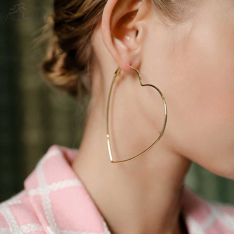 Trendy Silver Gold Color Hoop Earrings Big Oversized Heart Earrings For Women Korean Kpop Jewelry Large Statement Earrings 2018