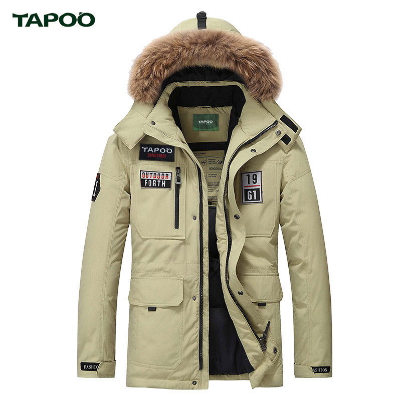 Tapoo Mens Down Coats Polyester Winter Jackets Thick Casual Outerwear Windproof Handsome Warm Regular Parkas And Coats Hooded