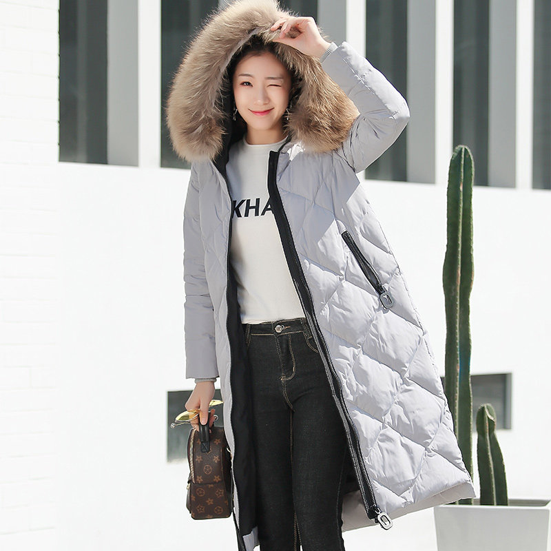 Natural raccoon dog fur collar duck   down   jackets women long style   down     coats   outerwear 2018 autumn winter new arrival