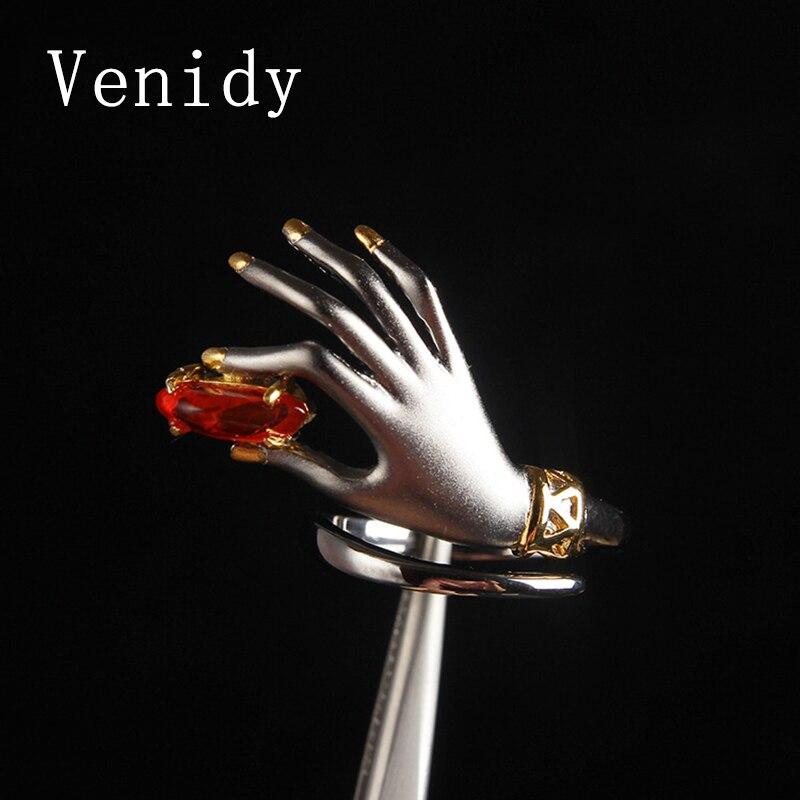 Venidy Новый высокое качество натуральный огненный опал кольцо Винтаж Изменение размера женский стерлингового серебра 925 Ювелирные украшения