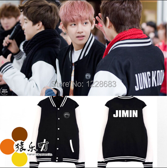 BTS Bulletproof Cadet SUGA / JIMIN / V JUNGKOOK J HOPE Rap Monster Baseball Jacket Tracksuit Women Men BTS Sweatshirt