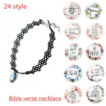 Hollow Designs Choker Necklace Bible Verse Psalm Necklace Inspirational Faith Quotes Pendant Christian Jewelry Party Gift(China)