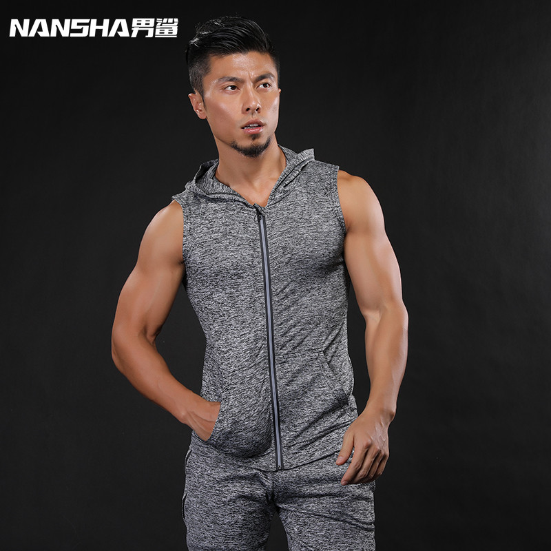 NANSHA Brand 2018 New Gyms Hoodie Stringer   Tank     Top   Men Waistcoat Fitness Vest Men's Singlets Sporting Sleeveless Sweatshirts