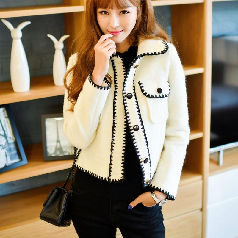 Veste Mode D'hiver De Laine Femme Courte Coréenne As Femmes Parfum Automne Photo Slim Et Tempérament Flottante Petit wX1nnpx