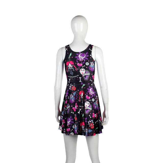 743ac8bd8caa5 US $11.04 8% OFF XAXBXC 1007 Fashion Summer Sexy Girl Skater Dress  Halloween Witch Skull Bat Spider Prints Elastic Vest Women Pleated Dress-in  Dresses ...