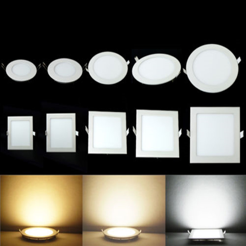 3W 4W 6W 9W 12W 15W 25W Warm White/Natural White/Cold White LED ceiling recessed grid downlight square/round panel light + drive led downlight recessed kitchen bathroom lamp 85 265v 25w round square led ceiling panel light warm natural cool white free ship