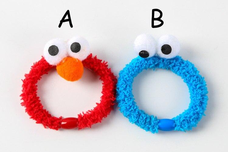 100 pcs lot Anime Sesame Street plush hand strap hair bands ELMO rubber band bracelet girls