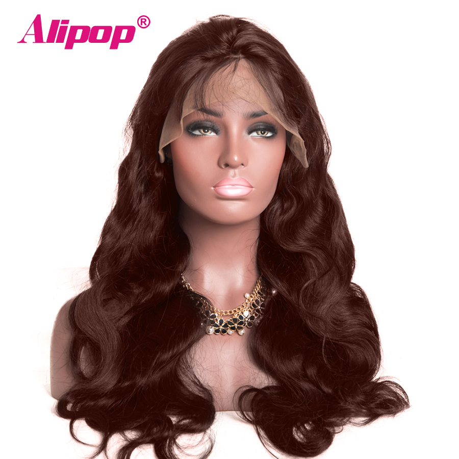 ALIPOP Pre Plucked Brazilian Body Wave 13x4 Lace Front Human Hair Wigs #2 #4 Light Dark Brown Color Remy Hair Wigs Baby Hair