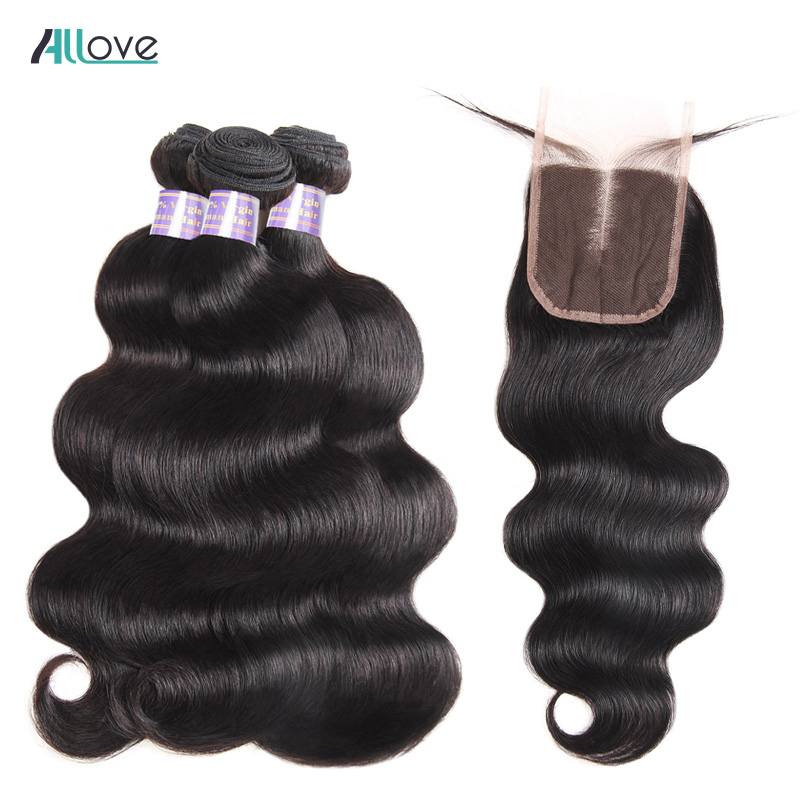 Allove Indian Body Wave With Closure 4x4 Middle Part 4Pcs Lot Non Remy Human Hair Weave