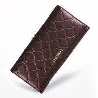 Women Wallet Genuine Cow Leather Purse Women Long Plaid Wallets Brand Designer Zipper Hasp Clutch Wallet