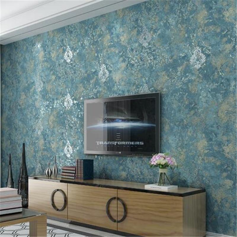 Us 29 73 29 Off Beibehang Solid Color Wallpaper Vintage American Plain Dark Floral Nonwoven Wallpaper Dappled Blue Living Room Bedroom Backdrop In
