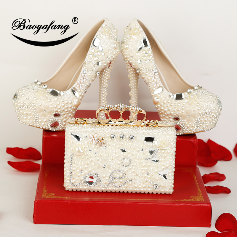 BaoYaFang New arrival Luxury Pearl Crystal Wedding shoes Woman High heels platform shoes with matching bags