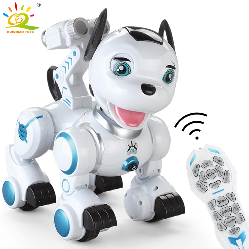 HUIQIBAO TOYS RC Dog Remote Control animal Shaking Head Light Up Sounds dancing Fun Electric Simulation Toys for children Boys