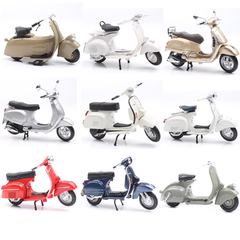 1:18 Scale Piaggio Vespa Scooter 98 PK 125 GTR P150X 300 MP5 Primavera GTS Motorcycle Moto Bike Diecast Vehicles Toys Model Kids