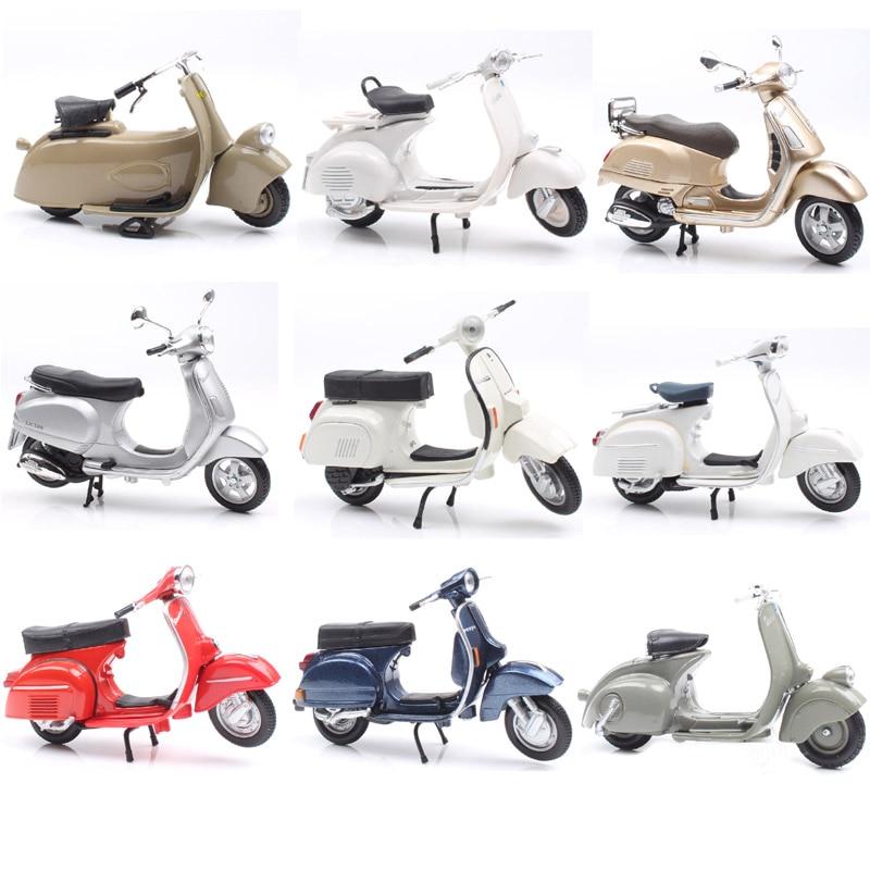1:18 Scale Piaggio Vespa Scooter 98 PK 125 GTR P150X 300 MP5 Primavera GTS Motorcycle Moto Bike Diecast Vehicles Toys Model Kids