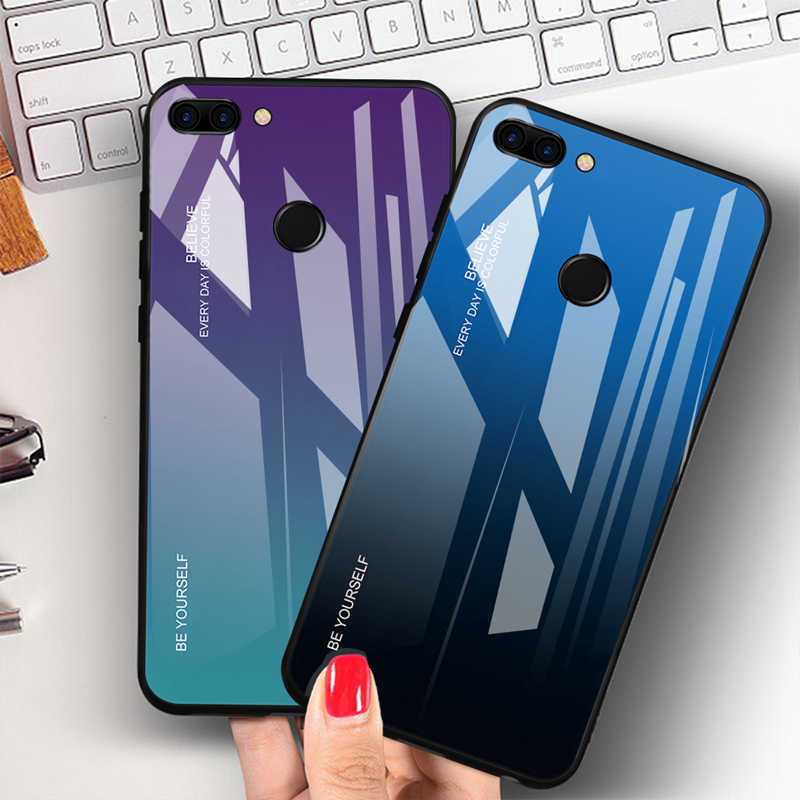 Funda de teléfono gradiente para Huawei P Smart Plus Mate 10 Pro funda de vidrio templado para Honor 8X Max 9 Lite Note 10 Magic 2 carcasa