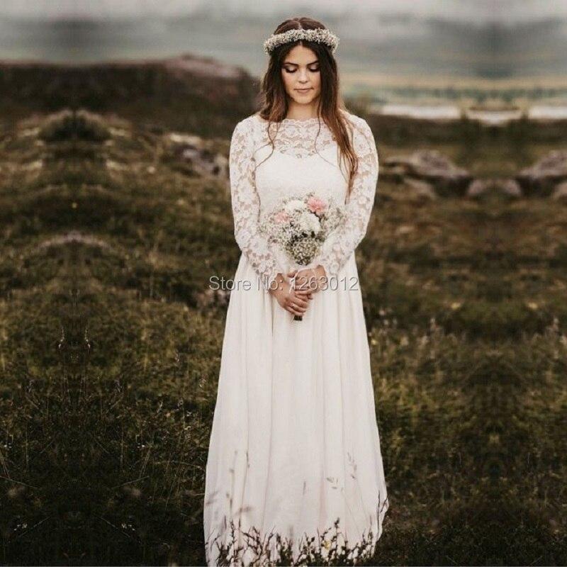 A Line Bridal Gowns 2019 Bateau Long Sleeves Floor Length Chiffon Wedding Dress with Lace Vestido de Noiva Mariage
