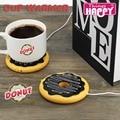 Gigante creativo Donut calienta tazas usb, de la galleta caliente taza calentador Coaster oficina para preparar té café bebidas powered USB calentador bandeja de galletas Pad