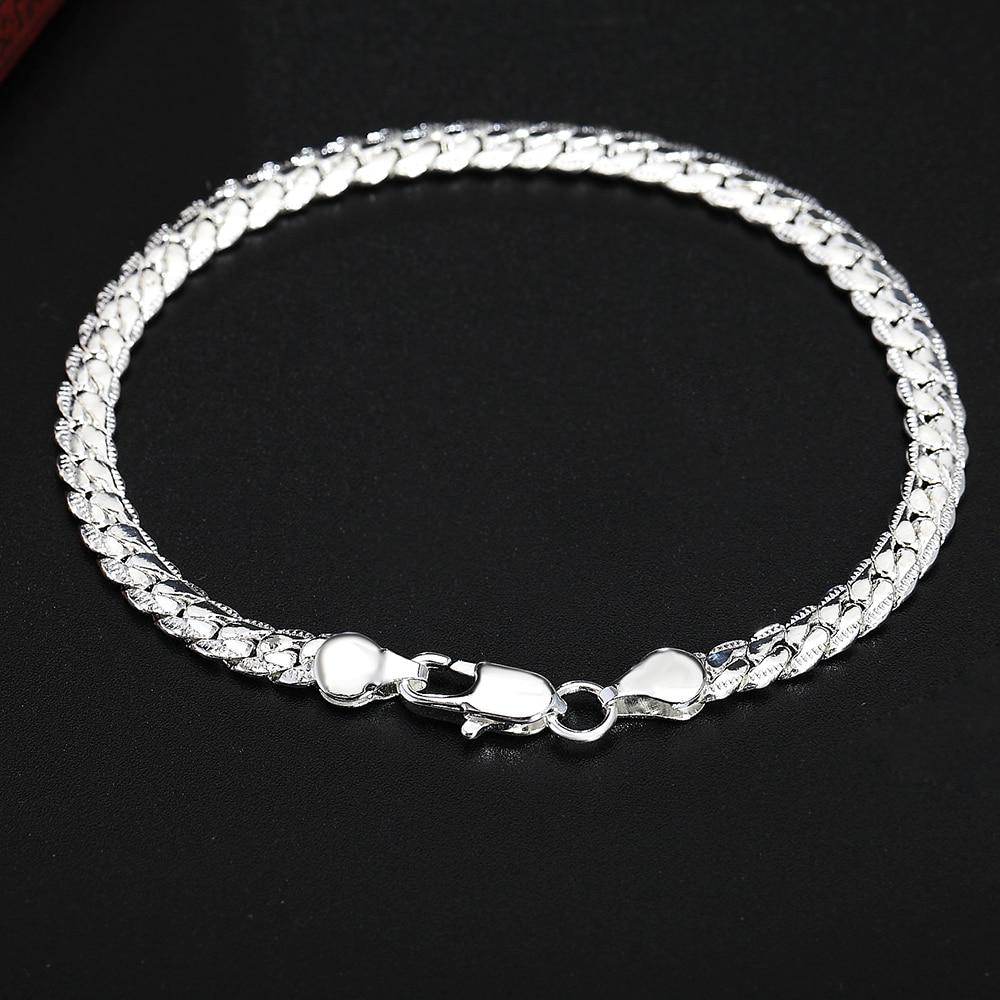 Beautiful Elegant wedding women men silver color 5MM Snake Bracelet high quality fashion classic jewelry H199 gift wholesale