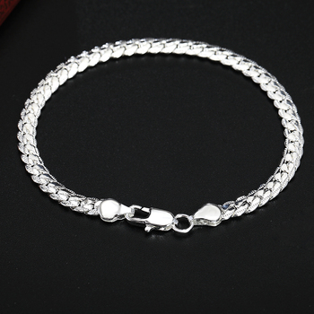 Beautiful Elegant wedding women men silver color 5MM Snake Bracelet high quality fashion classic jewelry H199 gift wholesale