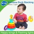 HOLA 2101 Bambini Arcobaleno Stacking Anatra Giocattolo Del Bambino con Anelli Colorati Elevatori con Musica e Suoni e Luci Giocattoli per bambini