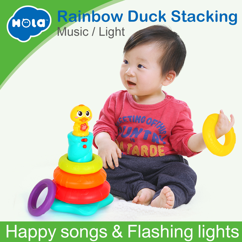 HOLA 2101 Kids Rainbow Stacking Duck Baby Toy with Colorful Rings Stackers with Music & Sounds & Lights Toys for Children