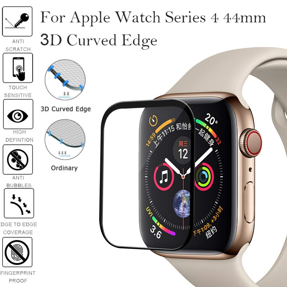 Full Coverage Strap Tempered Glass Film For Apple Watch Band Series 5 40mm 44mm Screen Protector Iwatch 5/4/3 42/38mm 3D Curved