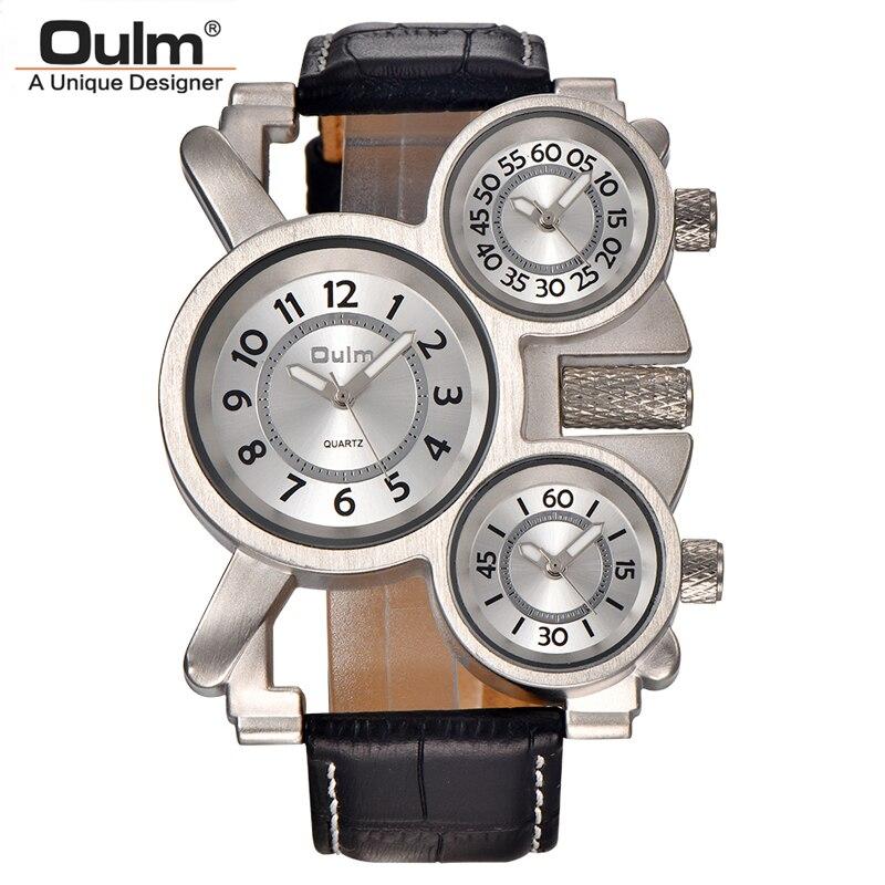 Mens relojes oulm Top marca lujo Militar cuarzo reloj único 3 pequeños diales cuero reloj hombre relojes hombre