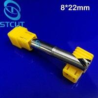 Free Shipping 2PCS Lot 8mm 22mm HQ Carbide AAA CNC Router Bits Single Flute Endmill Tools