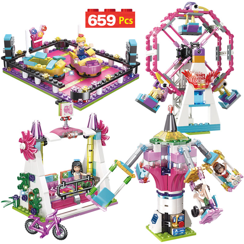 669PCS Girls Series City Fun Park Carnival Of Joy Blocks Compatible Friends Building Blocks Toys For Girl Children(China)