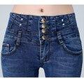 2016 Otoño Nueva Marca Estilo de Las Mujeres de Cintura Alta Jeans Femme Botones Breasted Alta Cintura Skinny Jeans Slim Fit Jeans Pancil pantalones