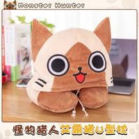 Anime Game Monster Hunter Airou Cosplay Winter Warm Neck Protector Sleep Hat U Shape Pillow Boy Girl Role Doll Props Cartoon Cap