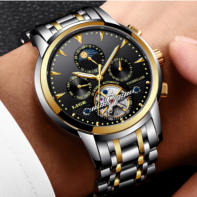 New LIGE Mens Watches Military Sports Waterproof Top Brand Watch Men Business Full Steel Mechanical Watch Relogio Masculino+BoxNew LIGE Mens Watches Military Sports Waterproof Top Brand Watch Men Business Full Steel Mechanical Watch Relogio Masculino+Box