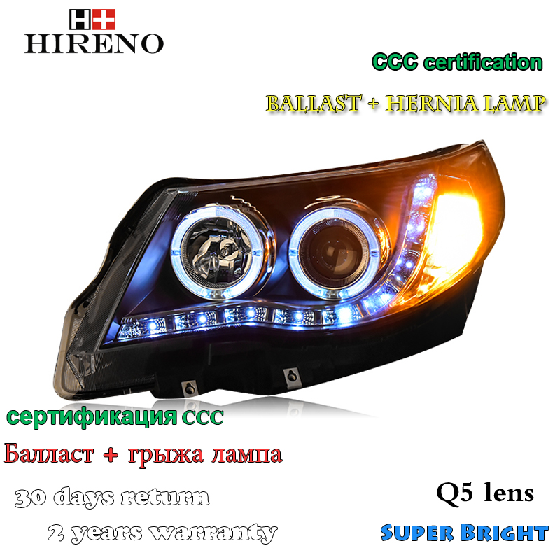 Hireno Headlamp for 2008-2012 Subaru Forester Headlight Assembly LED DRL Angel Lens Double Beam HID Xenon 2pcs