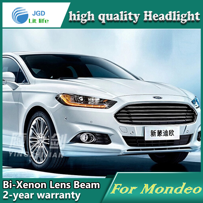 Car Styling Head Lamp case for Ford Mondeo 2013 Headlights LED Headlight DRL Lens Double Beam Bi-Xenon HID car Accessories 1 pcs diy car styling new pu leather free punch with cup holder central armrest cover case for ford 2013 fiesta part accessories
