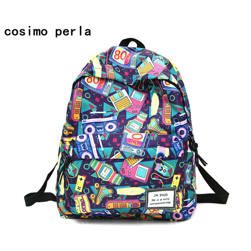 Korean Cool Cartoon Graffiti Canvas Backpacks For Teenage Girls Cute Funny Printing Bagpack Large Capacity School Laptop Bag