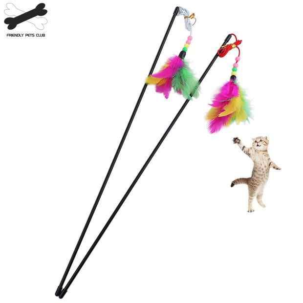 Recém Design de alta Qualidade Para Animais de Estimação Brinquedo Do Gato Pena de Pássaro de Pelúcia Brinquedo para Gatos Cat Catcher Teaser Brinquedo de Plástico Frete Grátis 23
