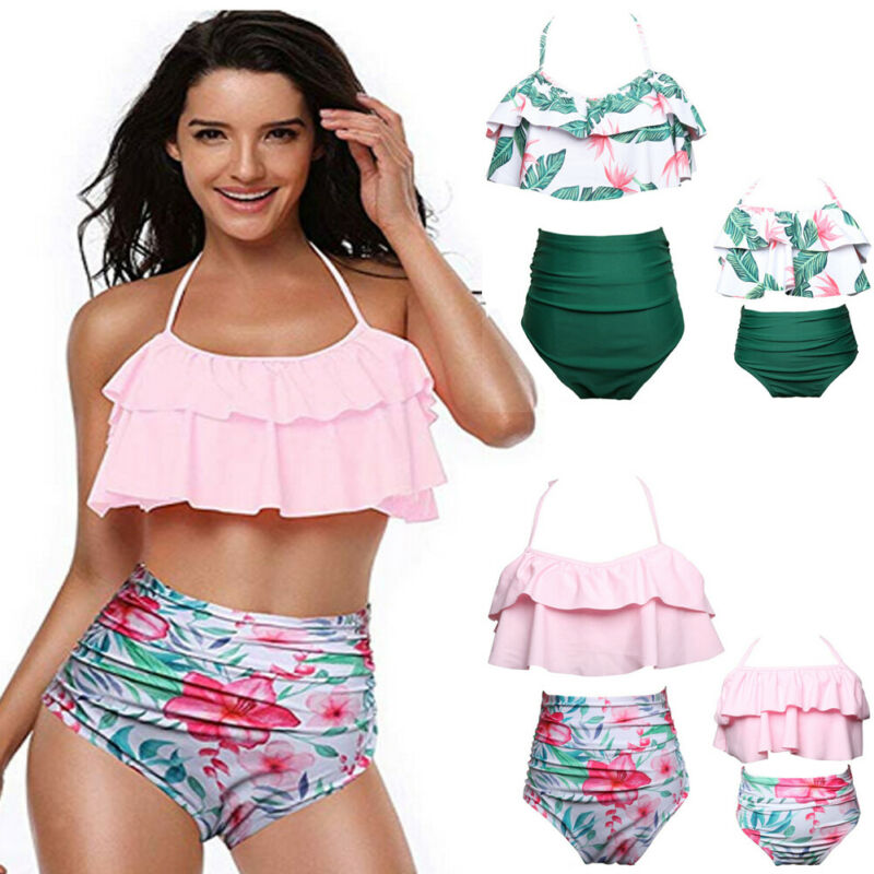 Mother And Daughter Swimsuit Two Piece Suits Ruffle Halter Backless High Waist Swimwear Family Matching Floral Bathing Beachwear