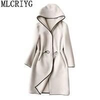 AYUNSUE пальто для женщин 2018 Осень Зима шерсти с длинным пальто с капюшоном женские большие размеры пальто abrigos де mujer invierno 258