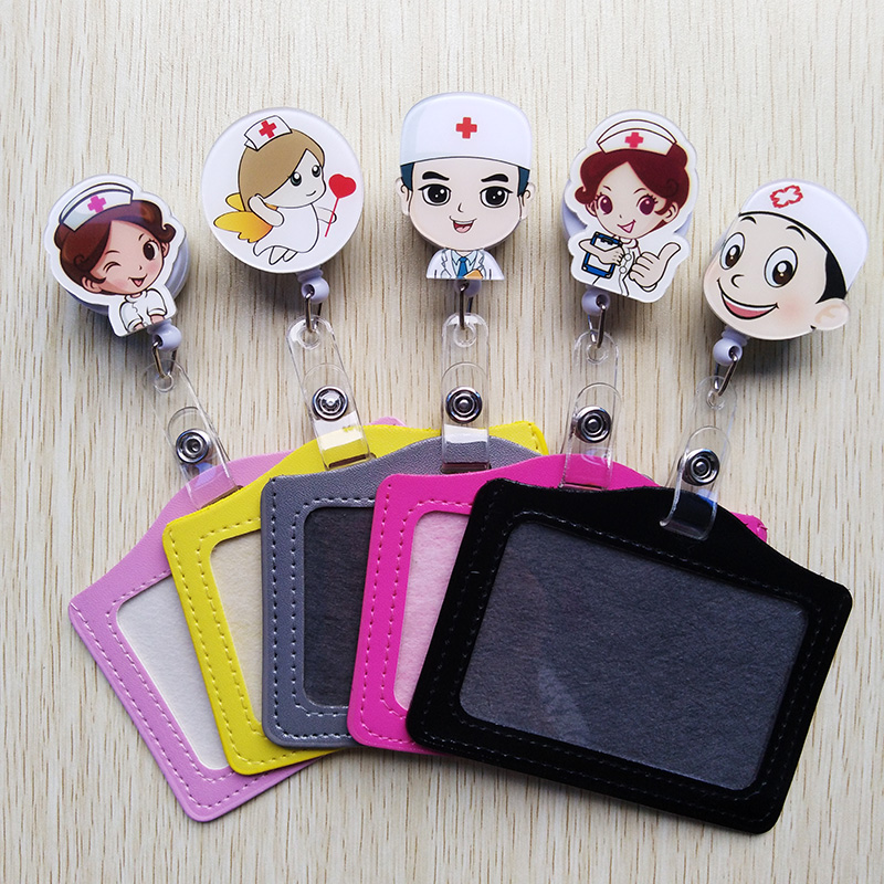 1Pcs Cute Cartoon Retractable Badge Reel WithHorizontal And Vertical Style PU ID Doctor And Nurse Card Work Card Badge Holder