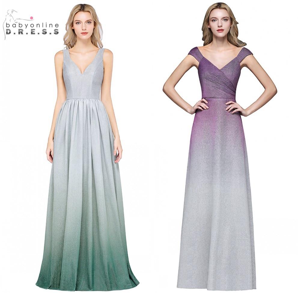 Elegant Gradient Color 2 Style V Neck A Line   Evening     Dresses   2019 Green Purple Formal Prom Party   Dress   vestido de festa longo