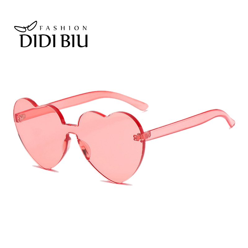 dc9734ae4e DIDI Oversize Integrated Heart Shaped Sunglasses Women Brand Transparent  Glasses Candy Color Plastic Frame Eyewear Oculos WL878