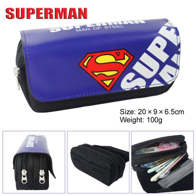 Bolso cartera Avengers Superman Batman película de alta capacidad de doble cremallera lápiz papelería Carpeta